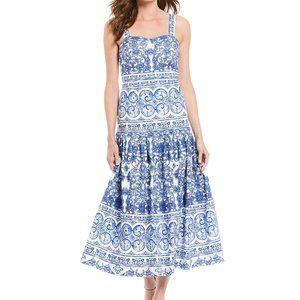 NewAmy Sleeveless Dropped Waist A-Line Midi Dress
